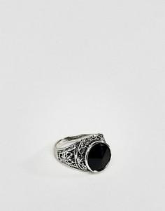 Кольцо-печатка с черным камнем DesignB эксклюзивно для ASOS - Серебряный