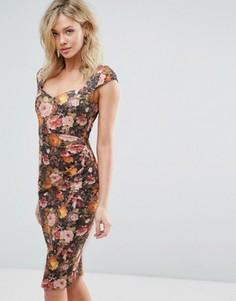 Платье-футляр миди с цветочным принтом Vesper - Оранжевый