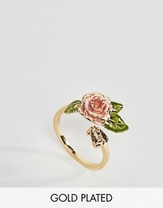 Позолоченное кольцо в винтажном стиле с розой Bill Skinner - Золотой