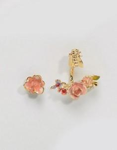 Позолоченные серьги-гвоздики в винтажном стиле с розой Bill Skinner - Золотой