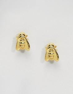 Позолоченные мини-серьги в виде пчел Bill Skinner - Золотой