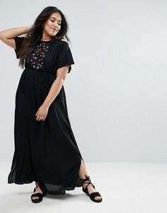 Платье макси с открытыми плечами и цветочной вышивкой Diya - Черный