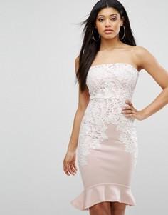 Платье-футляр бандо с кружевной отделкой Lipsy - Розовый