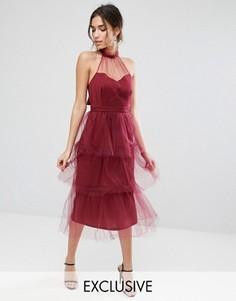 Ярусное платье миди из тюля True Violet - Красный