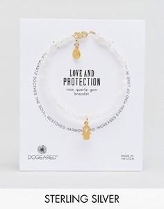 Позолоченный браслет с подвесками в виде сердечка и хамсы Dogeared Love and Protection - Розовый