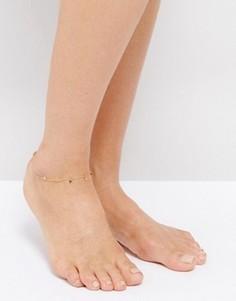 Браслет на ногу с подвесками-монетами Orelia - Золотой