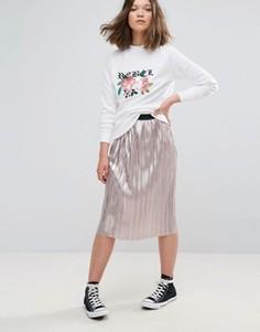 Плиссированная юбка цвета металлик Daisy Street - Золотой