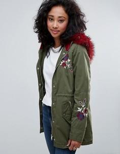 Пальто с вышивкой и искусственным мехом Urban Bliss - Зеленый