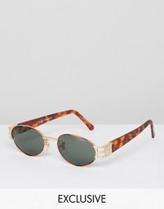 Солнцезащитные очки в круглой черепаховой оправе Reclaimed Vintage - Коричневый