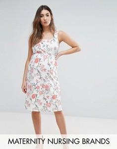 Короткое приталенное платье с цветочным принтом Mamalicious Nursing - Мульти Mama.Licious
