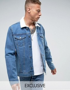Джинсовая oversize-куртка с воротником борг Reclaimed Vintage Inspired - Синий