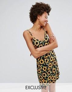 Платье-комбинация с подсолнухами Monki - Черный