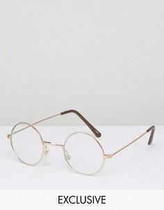 Круглые очки с прозрачными стеклами Reclaimed Vintage - Серебряный