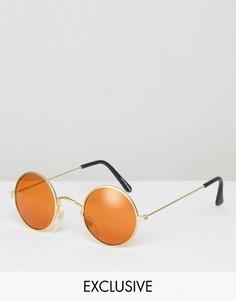 Круглые очки с оранжевыми стеклами Reclaimed Vintage - Золотой