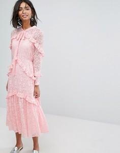 Кружевное платье миди Sister Jane - Розовый