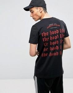Черная футболка с принтом Hood Life на спине Criminal Damage - Черный