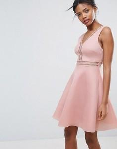 Короткое приталенное платье с отделкой New Look Airtex - Розовый