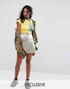 Парчовая мини-юбка с необработанным краем Reclaimed Vintage Inspired - Серебряный