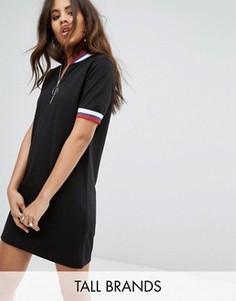 Трикотажное платье-футболка с полосками и молнией Daisy Street Tall - Черный