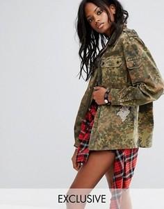 Фестивальная куртка в стиле ретро с камуфляжным принтом Reclaimed Vintage Revived - Зеленый