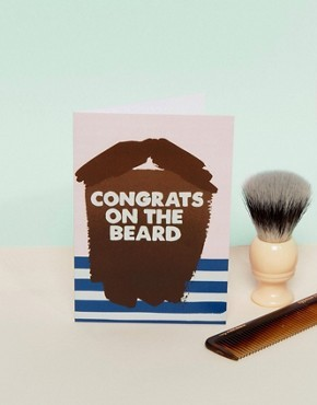 Поздравительная открытка с надписью Congrats on the Beard Jolly Awesome - Мульти
