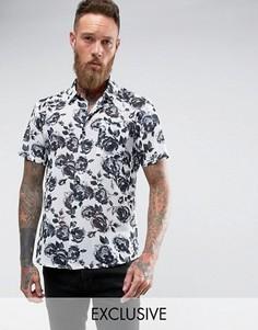 Рубашка классического кроя с принтом роз Reclaimed Vintage Inspired - Белый