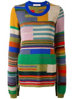 полосатый свитер дизайна колор-блок с рукавами типа пелерины Marni