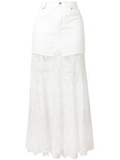 джинсовая юбка с кружевным подолом McQ Alexander McQueen
