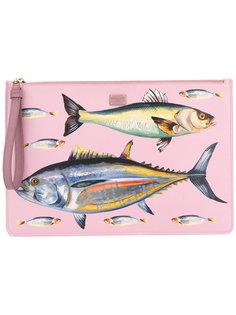 клатч с принтом рыб Dolce & Gabbana