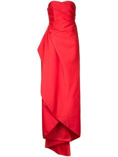 длинное тканое платье без бретелек Paule Ka
