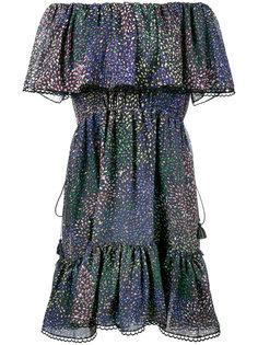 платье с люрексом с открытыми плечами и принтом в виде фейерверков Chloé