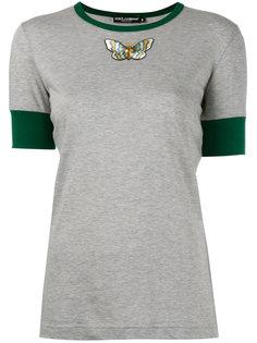 футболка с вышитой бабочкой Dolce & Gabbana