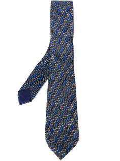галстук с золотистым узором Hermès Vintage