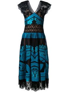длинное платье с контрастными панелями Alberta Ferretti