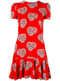 расклешенное платье с принтом роз Alexander McQueen