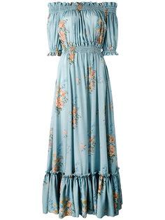 расклешенное платье с открытыми плечами Alexander McQueen