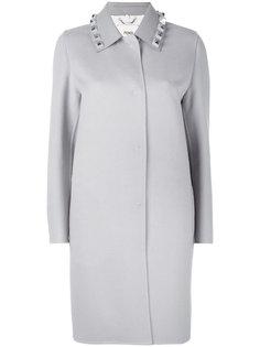 однобортное пальто с крупными заклепками Fendi