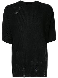 свитер с рукавами по локоть и потертой отделкой  monkey time