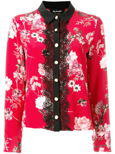 блузка с цветочным принтом и кружевом  The Kooples