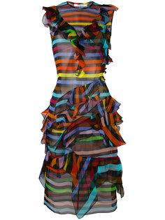полосатое платье-шифт с оборками Givenchy