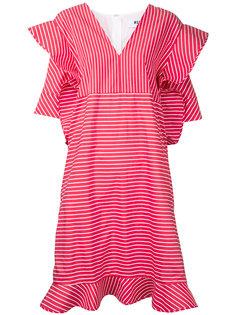 полосатое платье с отделкой в стиле оригами MSGM