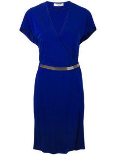 мини-платье с серебристым поясом Lanvin