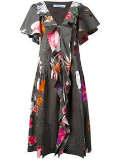 платье с цветочным принтом и рюшами Blumarine