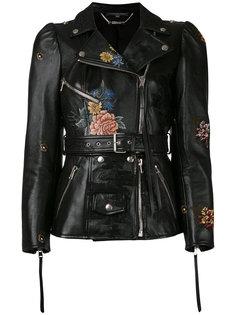 байкерская куртка с цветочным принтом Alexander McQueen