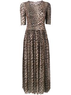 платье-макси в леопардовый принт Olivet Ganni