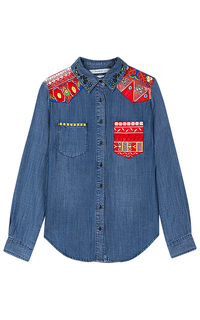 Синяя рубашка с вышивкой Desigual