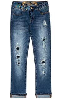 Синие джинсы с вышивкой Desigual