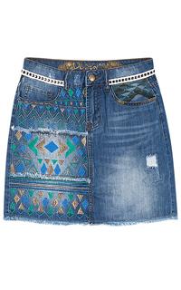 Джинсовая юбка с вышивкой Desigual