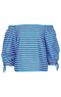 Хлопковая блузка в полоску La Reine Blanche