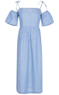 Хлопковое платье с открытыми плечами La Reine Blanche
